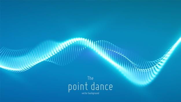 Onda abstracta de partículas azules, matriz de puntos, profundidad de campo. fondo de tecnología digital