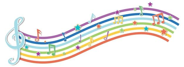 Onda de arco iris con símbolos de melodía