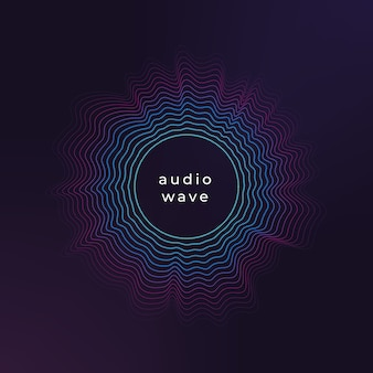 Onda de círculo de sonido. onda de música abstracta, fondo de flujo de ondas de amplitud de audio