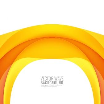 Onda creativa colorida amarilla abstracta en el fondo blanco