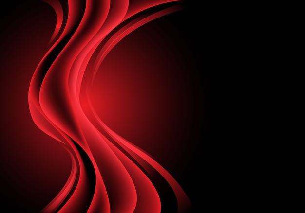 Onda de la curva de la luz roja en fondo de lujo negro.