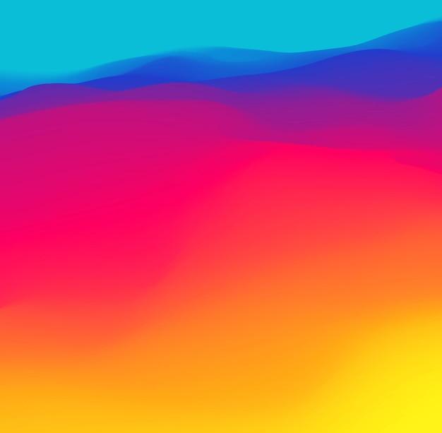 Onda de degradado amarillo rojo azul púrpura. fondo de color gráfico degradado de neón. ilustración de vector, onda vibrante fluida.