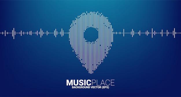 Onda del ecualizador como icono de ubicación de pin fondo de concepto para festival de música y sala de conciertos.