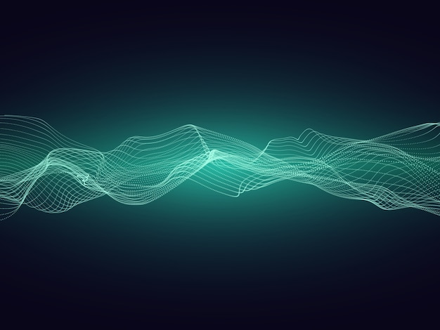 Onda de energía de sonido abstracto con partículas dinámicas vector de fondo