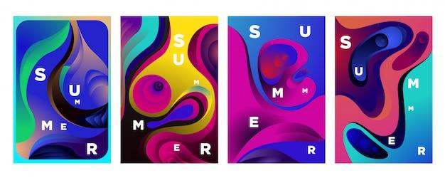 Onda flúida colorida abstracta para el fondo del verano
