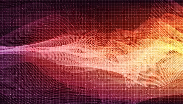 Onda de fondo de onda de sonido digital naranja, tecnología y concepto de diagrama de onda de terremoto.