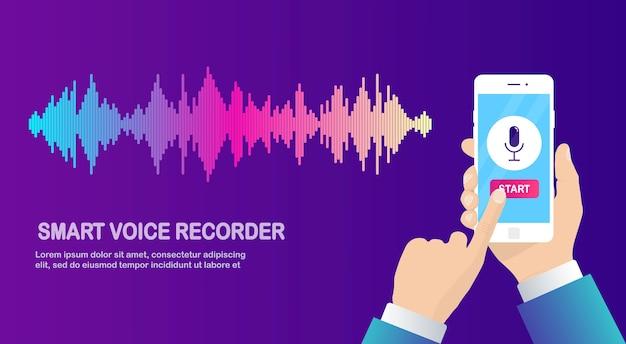 Onda de gradiente de audio de sonido del ecualizador. teléfono móvil con icono de micrófono. aplicación de teléfono para grabación de voz