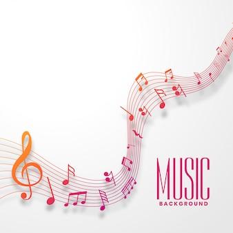 Onda de línea de notas musicales en un diseño de estilo colorido