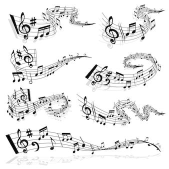 Onda musical con notas y símbolos de clave de sol en las líneas del pentagrama