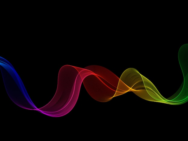 Onda de neón brillante arco iris liso sobre un fondo negro.