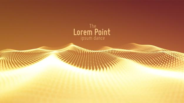 Onda de partículas abstracta, matriz de puntos con poca profundidad de campo. ilustración futurista. tecnología digital splash o explosión de puntos de datos.