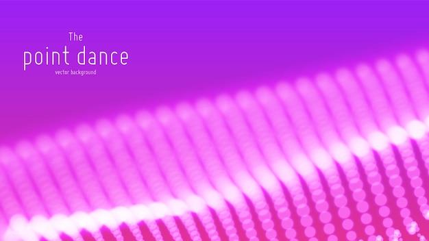 Onda de partículas violetas abstractas, fondo de matriz de puntos