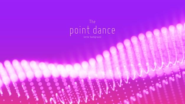 Onda de partículas violetas abstractas de vector, matriz de puntos, profundidad de campo.