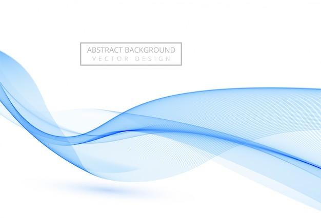 Onda que fluye con estilo abstracto azul sobre fondo blanco