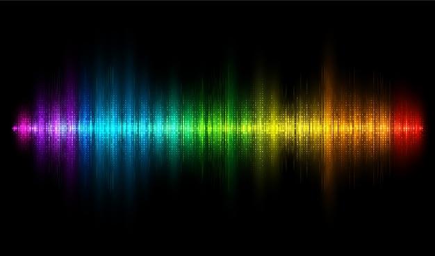 Onda de sonido colorido. fondo de ecualizador de arco iris. onda de audio, frecuencia, melodía, ilustración de ecualización de banda sonora.
