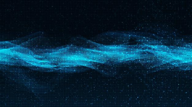 Onda de sonido digital de luz azul escala de richter baja y alta en el fondo de tecnología
