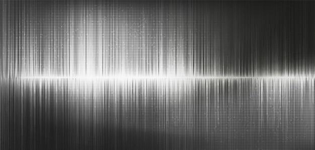 Onda de sonido digital de luz gris y onda de terremoto, sobre fondo negro.