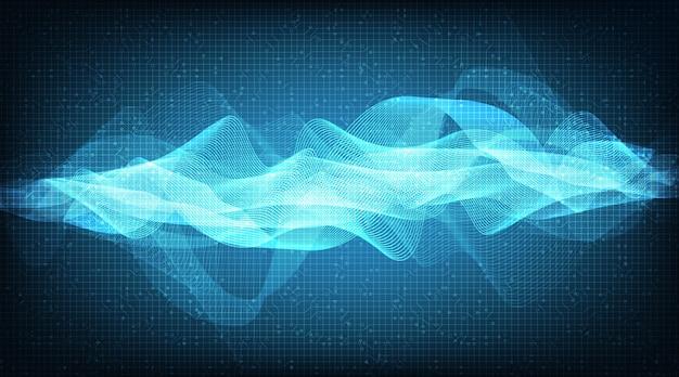 Onda de sonido digital de luz sobre fondo de tecnología, concepto que fluye, diseño para estudio de música