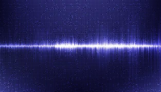 Onda de sonido digital moderna con fondo ultravioleta, tecnología y concepto de onda de terremoto, diseño para la industria de la música