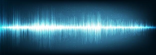 Onda de sonido digital panorámica sobre fondo azul, concepto de onda de tecnología