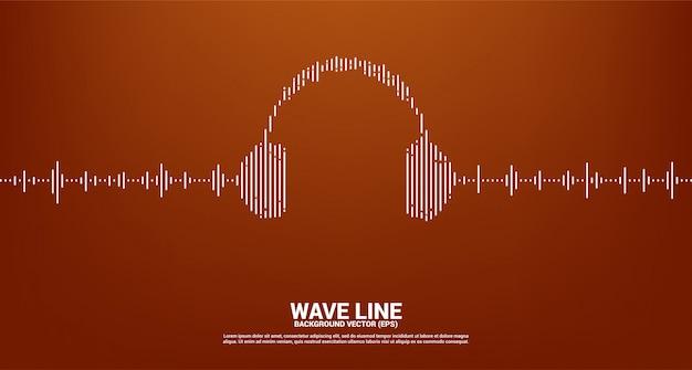 Onda de sonido de fondo del ecualizador de música. icono de auriculares audiovisuales con estilo gráfico de onda de línea