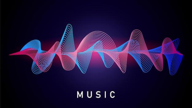 Onda de sonido. grabación de música, ecualizador de audio.