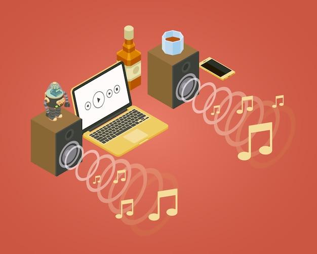 Onda de sonido isométrica de los dos altavoces, iconos de notas y computadora portátil