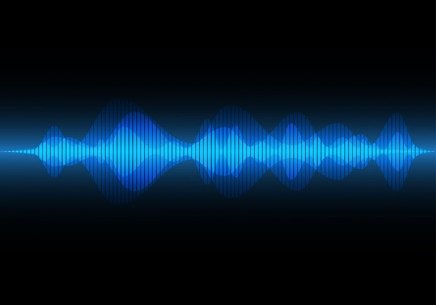 Onda de sonido de luz azul abstracta, fondo de música