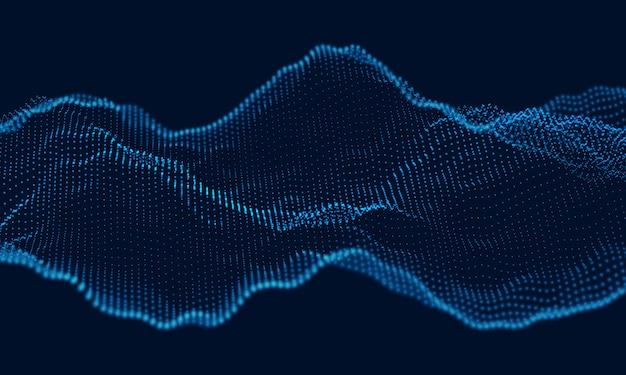 Onda de sonido de partículas dinámicas que fluye sobre la oscuridad