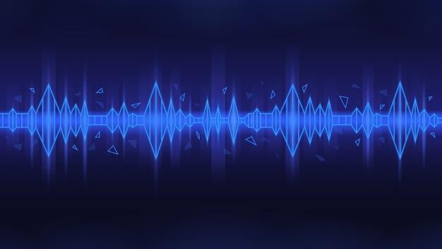 Onda de sonido poligonal en tema azul sobre fondo oscuro