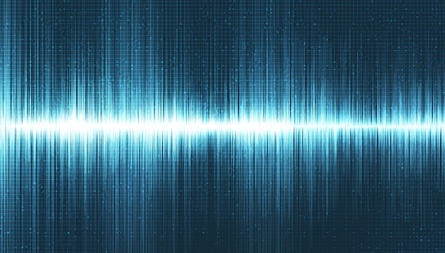 Onda de sonido súper digital sobre fondo azul claro