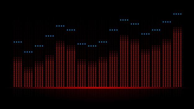 Onda sonora audio visual del ecualizador. ilustración sobre dinámica de la música de equipos electrónicos.