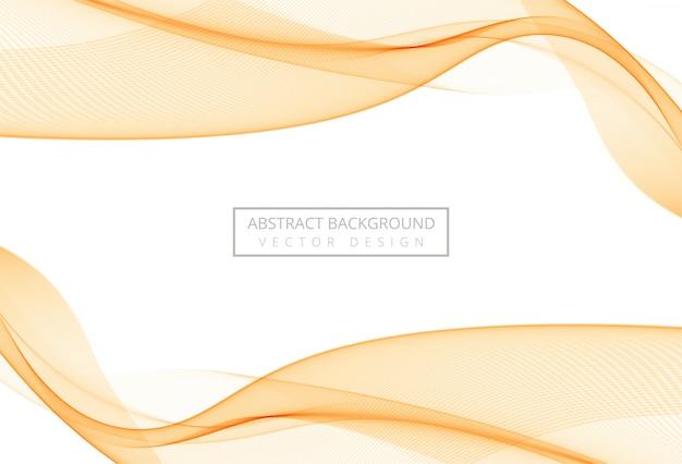 Onda suave elegante naranja abstracta sobre fondo blanco