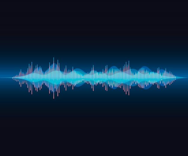 Onda de voz larga en colorido estilo moderno. voz brillante sobre fondo degradado oscuro