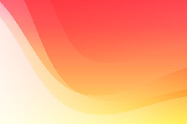 Ondas abstractas de color rojo brillante y amarillo con fondo de espacio en blanco
