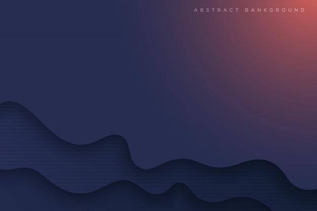 Ondas abstractas de dibujos animados de arte de papel azul oscuro