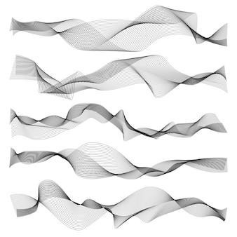 Ondas abstractas línea gráfica elementos sónicos o de onda de sonido, textura ondulada sobre fondo blanco.