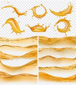 Ondas de aceite la superficie líquida dorada realista del flujo de gasolina y aceite cae y salpica la recolección de combustible