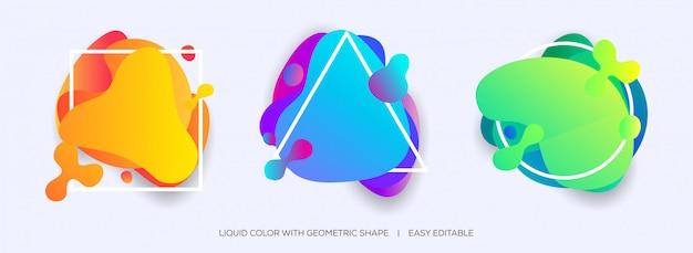 Ondas de forma líquida abstracta con líneas geométricas
