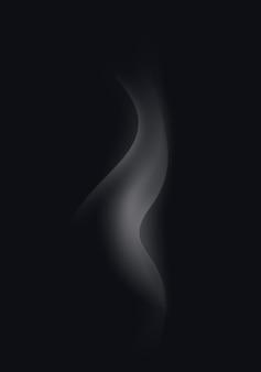 Ondas de humo de cigarrillo blanco sobre fondo negro