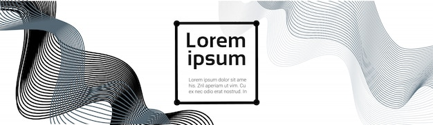Ondas líneas negras abstractas sobre fondo blanco plantilla de suavizado futurista suave banner horizontal con espacio de copia