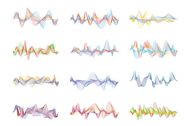 Ondas de sonido abstractas. visualizaciones digitales de voz o música para paneles de ecualización. espectro de onda del ecualizador del vector coloreado, ilustración de la frecuencia del latido del audio digital