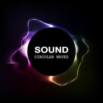 Ondas de sonido de color radial aisladas sobre fondo oscuro