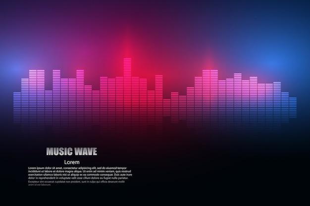 Ondas de sonido oscilante resplandor luz
