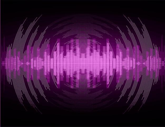 Ondas de sonido que oscilan la luz violeta oscura