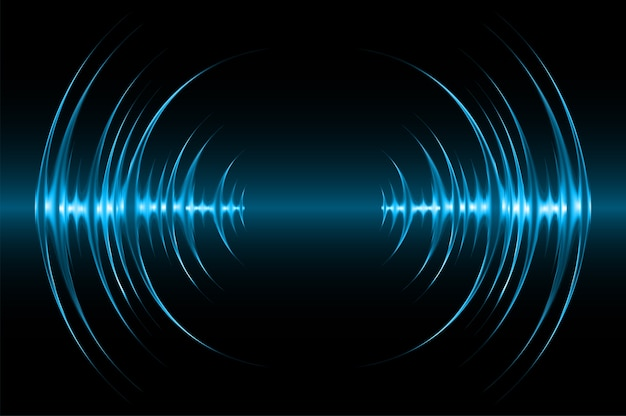 Las ondas sonoras oscilan la luz azul oscuro