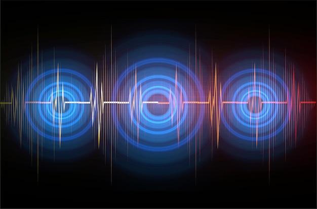 Ondas sonoras oscilando luz oscura