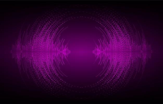 Ondas sonoras oscilantes de luz púrpura oscura