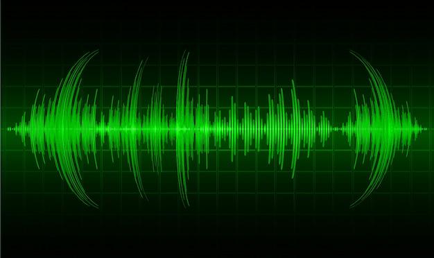 Ondas sonoras oscilantes de luz verde oscuro