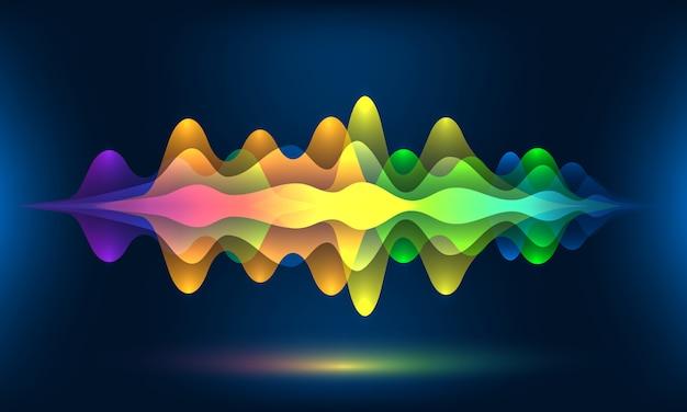 Ondas de voz coloridas o movimiento frecuencia de sonido ritmo radio dj amplitud